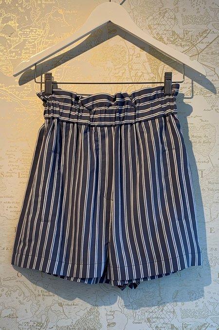 Tibi Twill Pull On Short - Stripe
