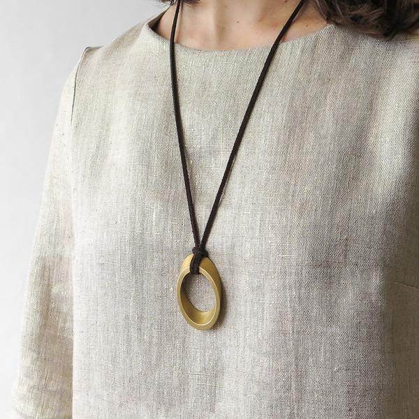 Marmol Radziner elliptical bronze pendant necklace