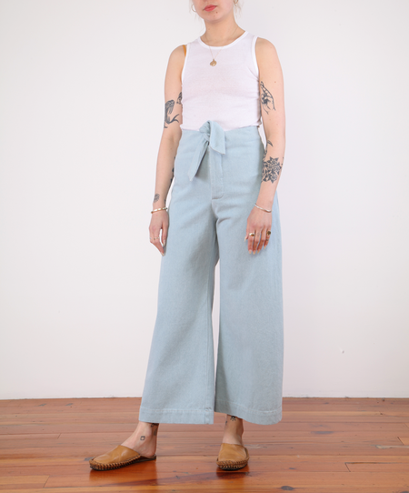 Micaela Greg Knotted Sailor Pant - SKY BLUE DENIM