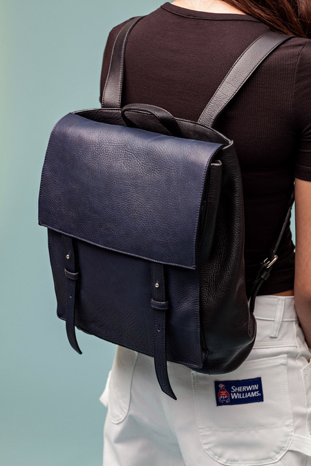 LE BAS Leather Backpack - Navy/Black