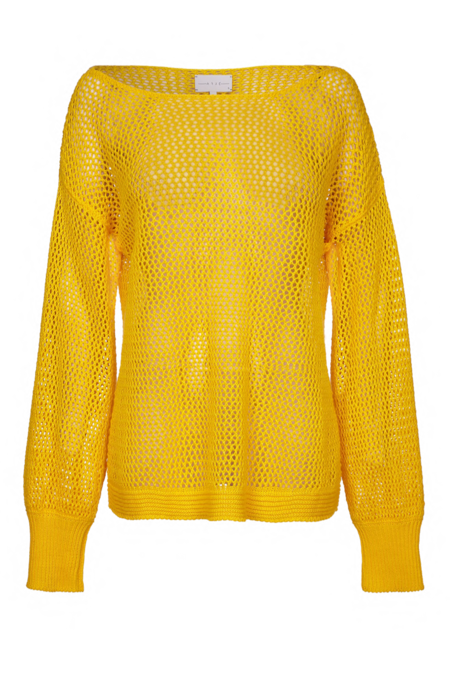 Arje Chloe Linen Basket Knit Sweater - Sunshine