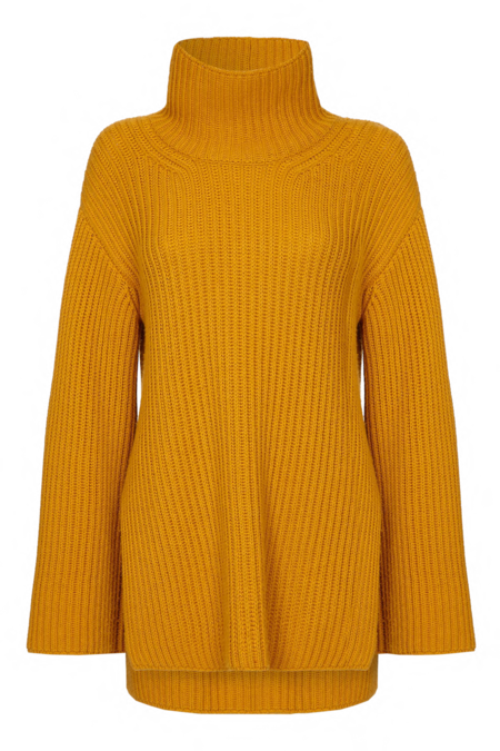 Arje Mayka Cashmere Blend High Neck Sweater - Saffron