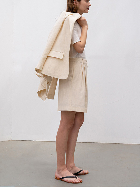 Kindersalmon Premium Wool Linen Bermuda Pants - Ivory
