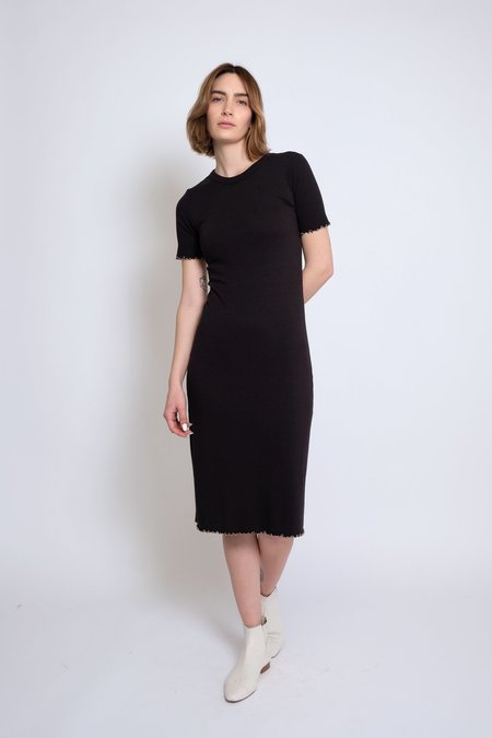 Micaela Greg Ruffle Rib Dress - Black