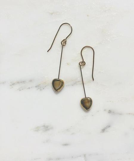 I. Ronni Kappos Swirled Heart Earrings - Beige