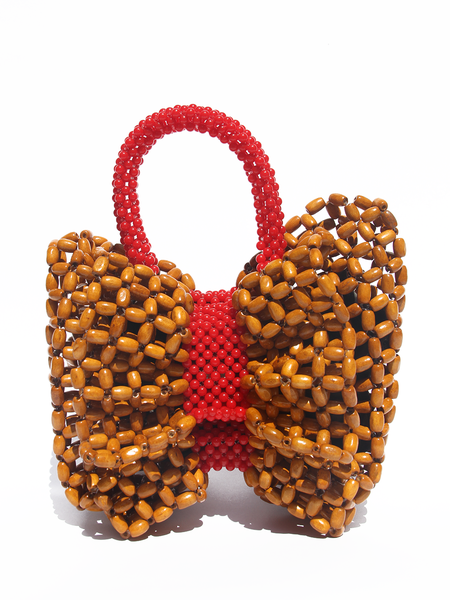 LISA FOLAWIYO Wooden Bow Top Handle Bag - Red/Brown
