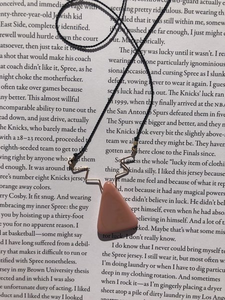 I. Ronni Kappos Gold Triangle Squiggle Necklace - Pink