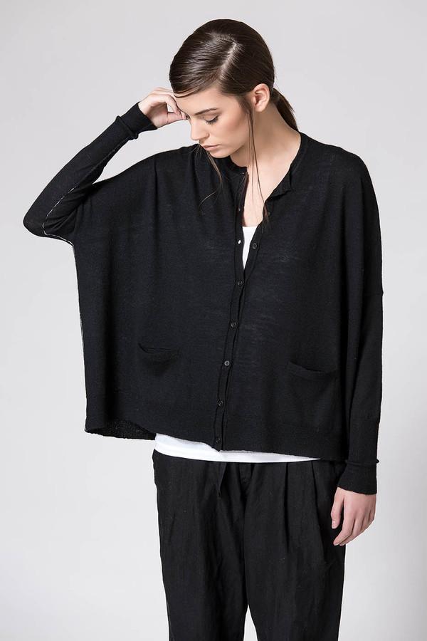 Paychi Guh Cashmere Boxy Cardigan Black