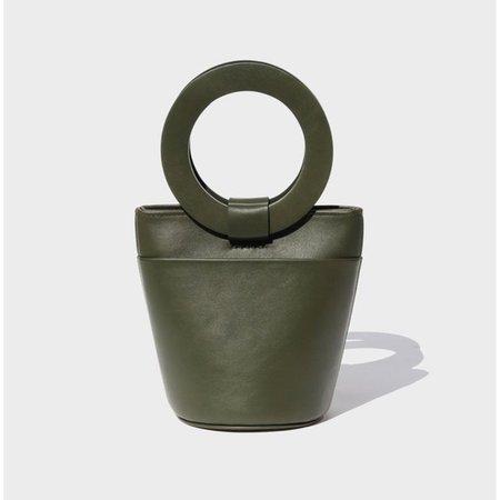 MODERN WEAVING MINI CIRCLE HANDLE BUCKET BAG - SAFARI LEATHER