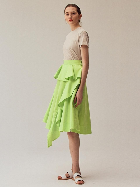 Minnchai Frill Full Skirt - Summer Green