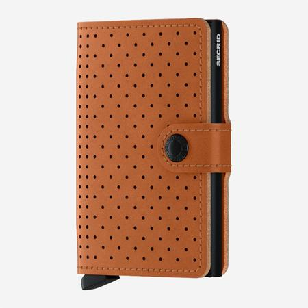 SECRID Mini Wallet - Perforated Cognac Brown Leather