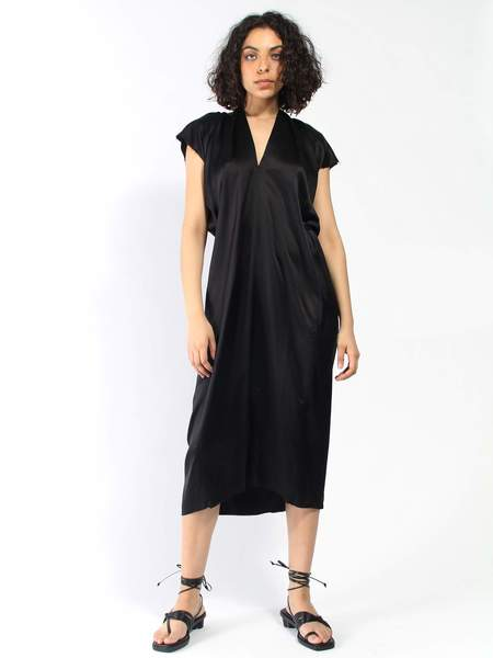Miranda Bennett Silk Charmeuse Knot Dress - Black