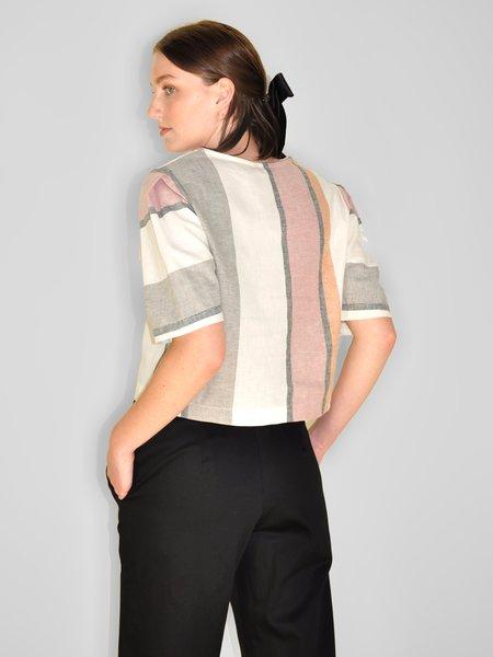 Eve Gravel Azur Top - Linen Stripes
