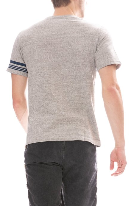 Remi Relief Indigo Jacquard Stripe T-Shirt - HEATHER GREY