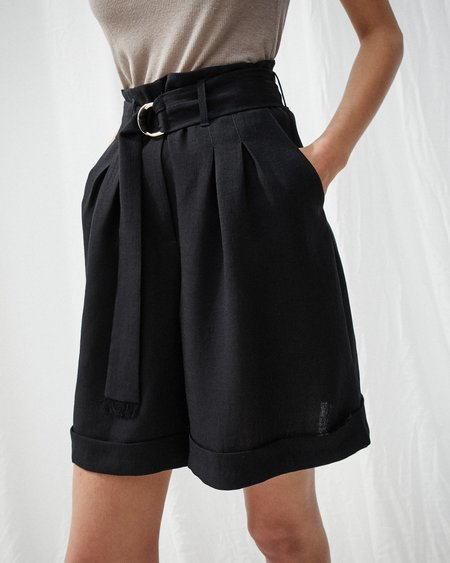 Nanushka COLORADO Pleat front shorts with belt - Black