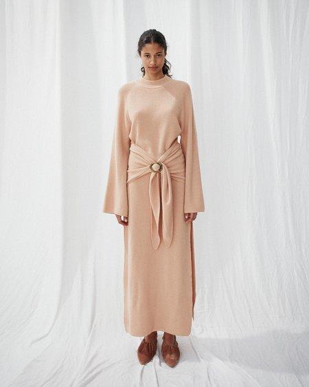 Nanushka MAHALI Tie front knit crewneck dress - Apricot