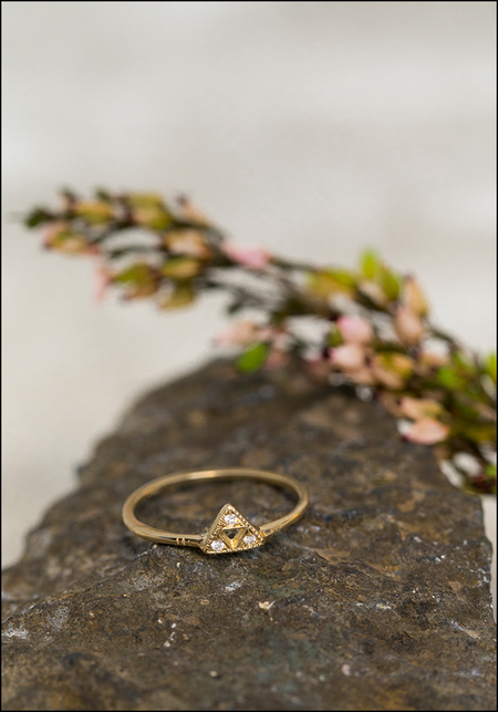 Lio and Linn Triple Triangle Ring - 14KT Gold/Diamond