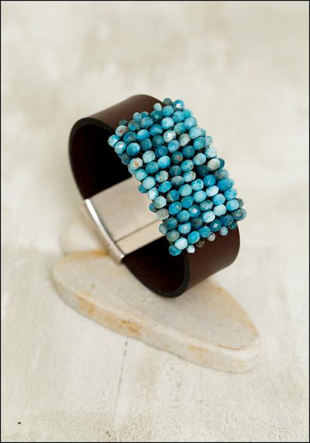 Martell Bead Cuff Bracelet - Apatite/Japanese Cube