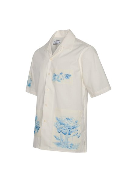 AMI Camp Collar Patch Shirt - White