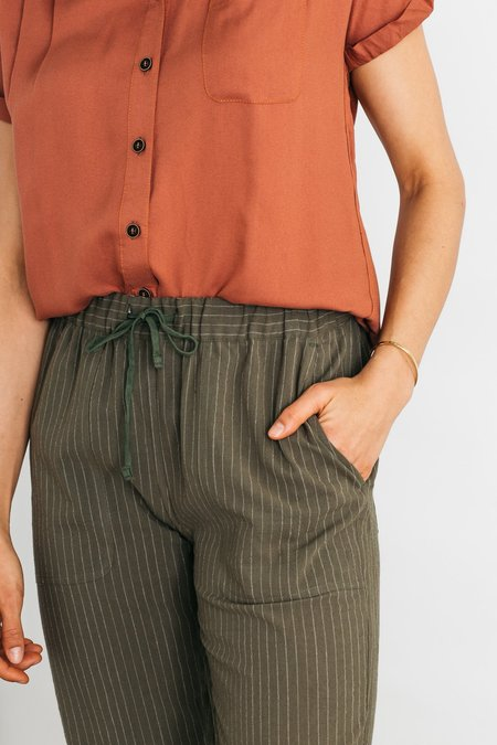 Bridge & Burn Clipper Pants - Olive Pinstripe