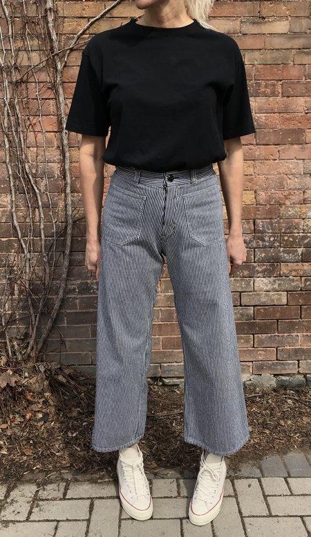 KLAXON HOWL Hickory Stripe Patch Pocket Pant - navy/white stripe