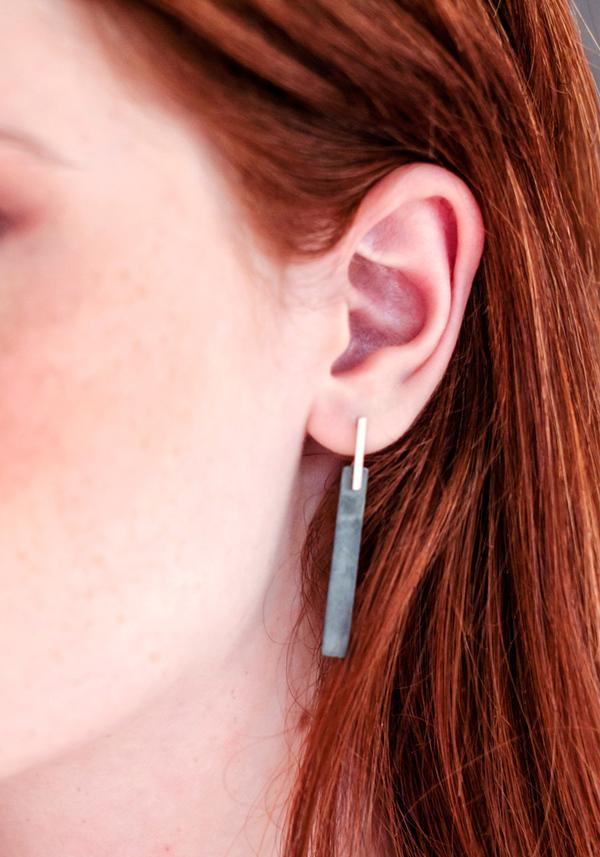 Contour Studio Oxidized  Silver Tile Earrings