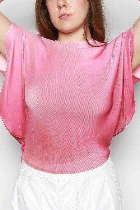 Issey Miyake Aurora Mist Pleated Top - Pink Ombre