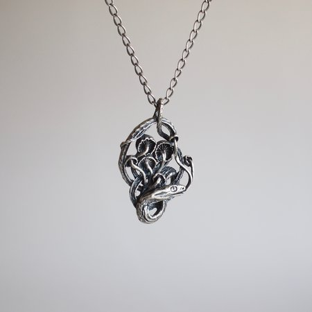 Theeth Snake and Mushroom Necklace - Silver