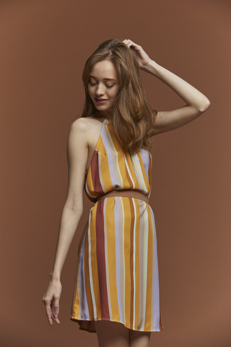 Lush Striped Halter Dress