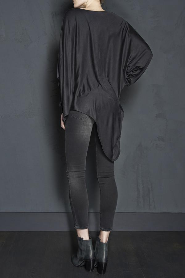 Long Sleeve Silk Jersey Asymmetric Tunic