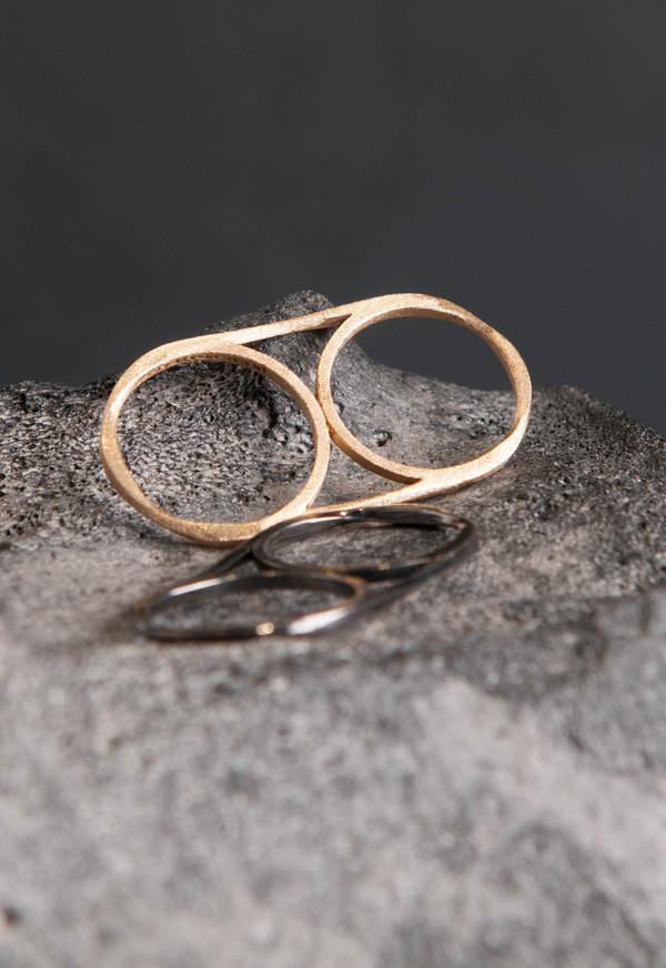 Love Rocks Double Finger Ring Pewter