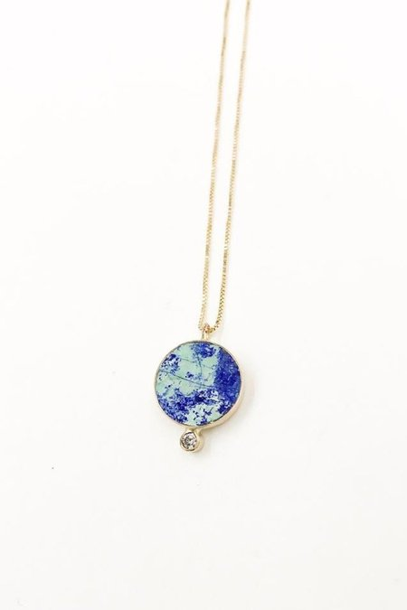 Young In The Mountains Azurite Solis Necklace - Gold