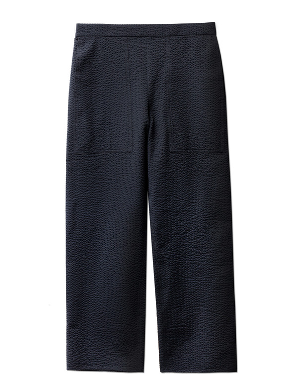 Lemaire Elasticated Pants Cropped Seersucker Midnight Blue