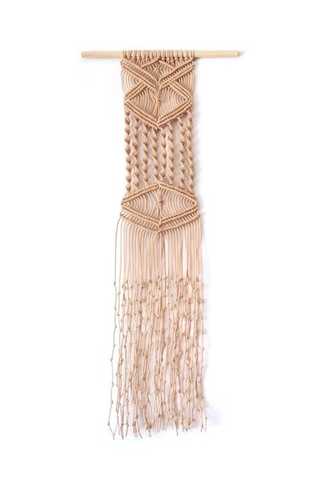 Lateral Drift Skinny Twisted Macrame Wall Hanging - natural