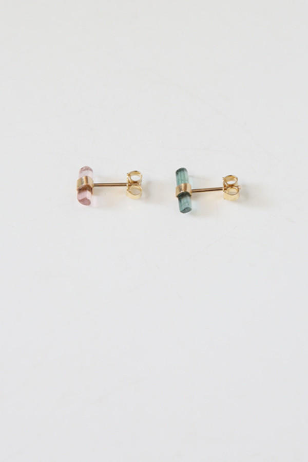 better late than never tourmaline stud singles (gold)