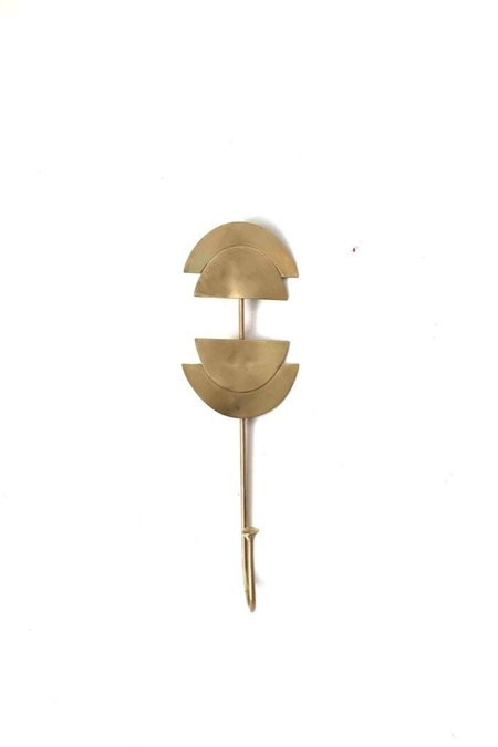 Bright Star and Buffalo Half Moon Hat Hook - brass
