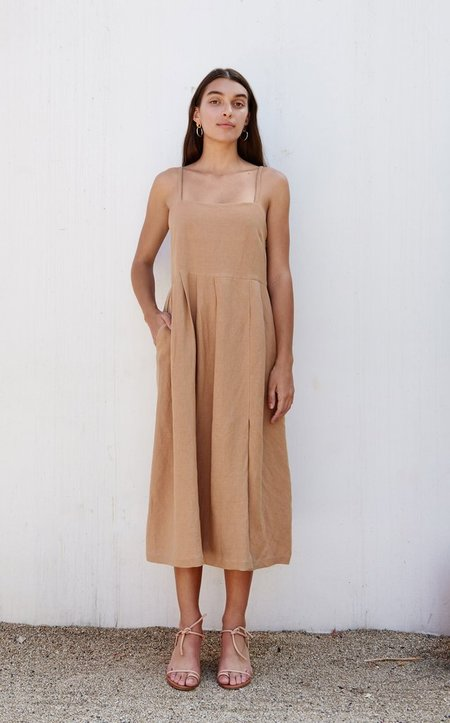 First Rite Pleated Dress - Camel