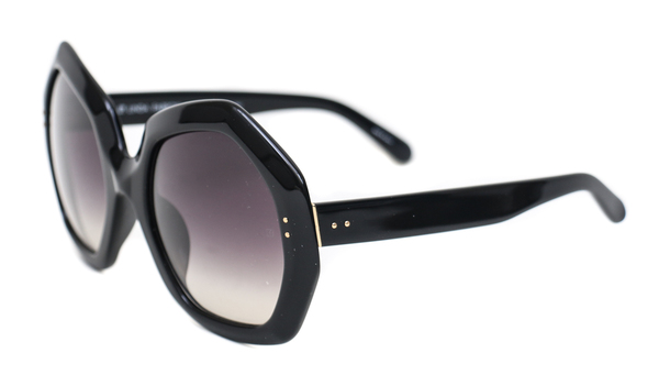 Linda Farrow Black Oversized Geo Sunglasses