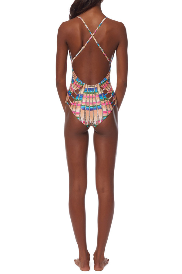 mara hoffman lattice maillot