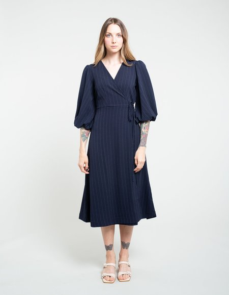 Ganni Heavy Crepe Wrap Dress - Total Eclipse