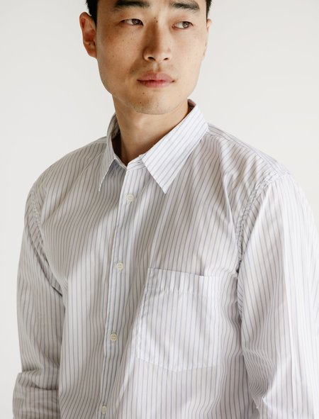 Comme des Garcons Cotton Broad Stripe Shirt Sax - White
