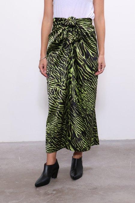 Ganni Silk Stretch Satin Skirt - Lime Tiger