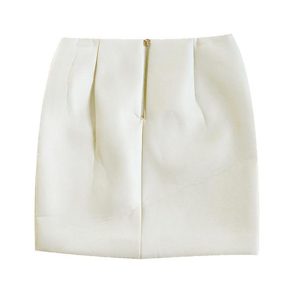 Lookast Cream Faux Leather Skirt