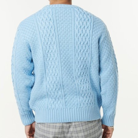 McIntyre Peter Merino Cable Knit Crew Neck Sweater - Sky Blue
