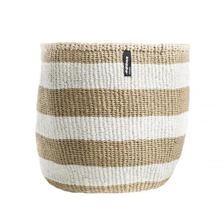 Mifuko Paper And Sisal Thick Stripes Medium Basket - Natural Brown/White