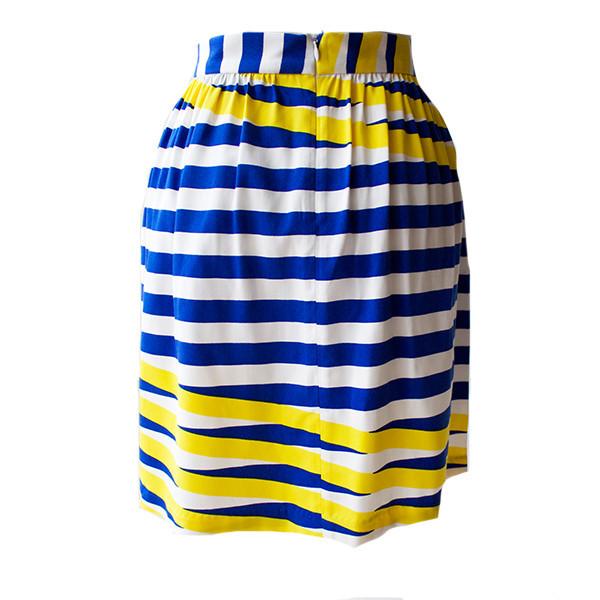 Dusen Dusen Blue Moire Drop Waist Skirt