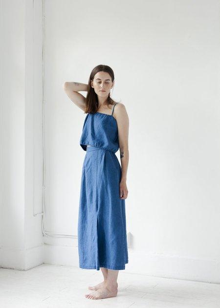 First Rite Pleated Skirt - Indigo Linen