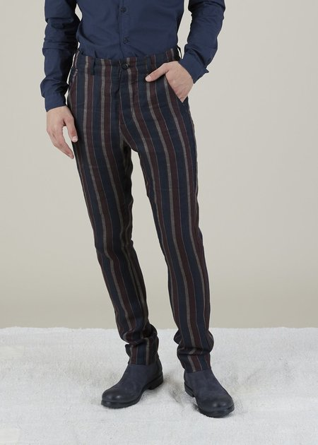 Hannes Roether Linen Track Pant - Navy/Maroon