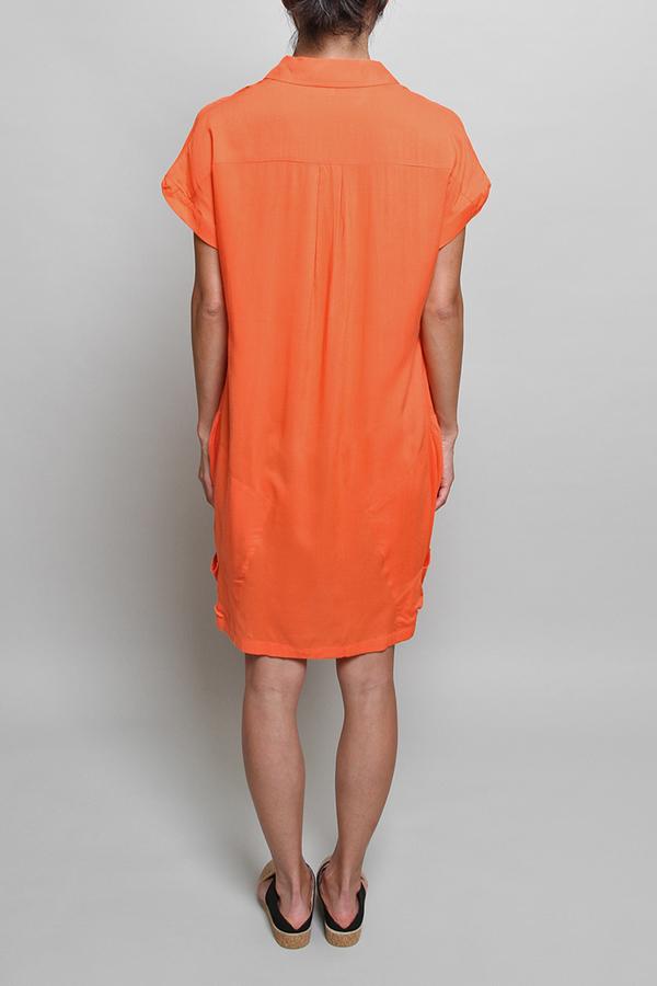 Chalayan Bag Pocket Dress in Sunset Orange