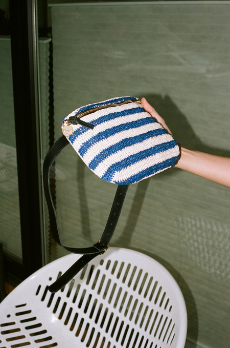 Clare V. Raffia Fanny Pack - Blue/White Stripe